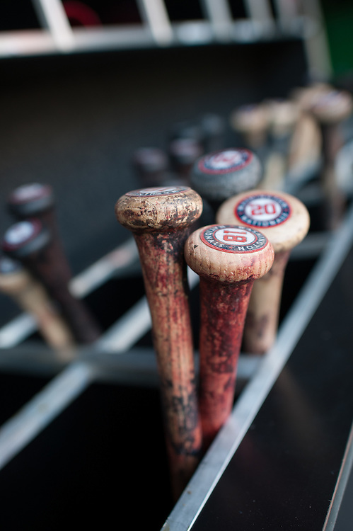 WASHINGTON, DC - APRIL 12: A general view of Washington Nationals bats in the dugout during the game against the Cincinnati Reds at Nationals Park on April 12, 2012 in Washington, DC. (Photo by Rob Tringali) *** Local Caption ***