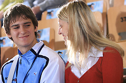 Sebastjan Skube with his girlfriend  at handball match of 5th Round of qualifications for EHF Euro 2010 in Austria between National team of Slovenia vs Bulgaria, on November 30, 2008 in Velenje, Slovenia. (Photo by Vid Ponikvar / Sportida)