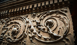 Detail of the ironwork decoration in the atrium of the Bradbury Building, located in downtown Los Angeles. The Bradbury, built in 1893, is the oldest commercial building remaining in the central city. The five-story office building is known for its skylit atrium and ornate ironwork. The building has been the location for many movies and television shoots.