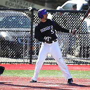 Anthony Firenzi #5 of the Niagara Purple Eagles steps up to the plate during the game at Friedman Diamond on March 16, 2014 in Brookline, Massachusetts. (Photo by Elan Kawesch)