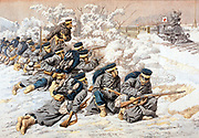Russo-Japanese War 1904-1905: Japanese firing on Russian Red Cross train on Trans-Siberian Railway carrying wounded to Port Arthur. From 'Le Petit Journal', Paris, 15 May 1904.