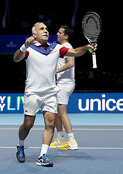 Mansour Bahrami (left) and Tim Henman during the Andy Murray Live Event at the SSE Hydro, Glasgow.