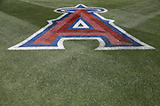 ANAHEIM, CA - MAY 4:  A large A is painted on the grass for the Los Angeles Angels of Anaheim game against the Texas Rangers at Angel Stadium on Sunday, May 4, 2014 in Anaheim, California. The Rangers won the game 14-3. (Photo by Paul Spinelli/MLB Photos via Getty Images)