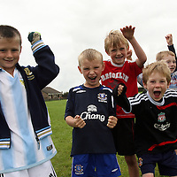 Shane Droney, Thomas Coleman, Niall O' Sullivan, Ciarn McMahon, Dan Connelly and Hugh Connelly at the Ennistymon soccer camp during the week.<br /> Photograph by Yvonne Vaughan