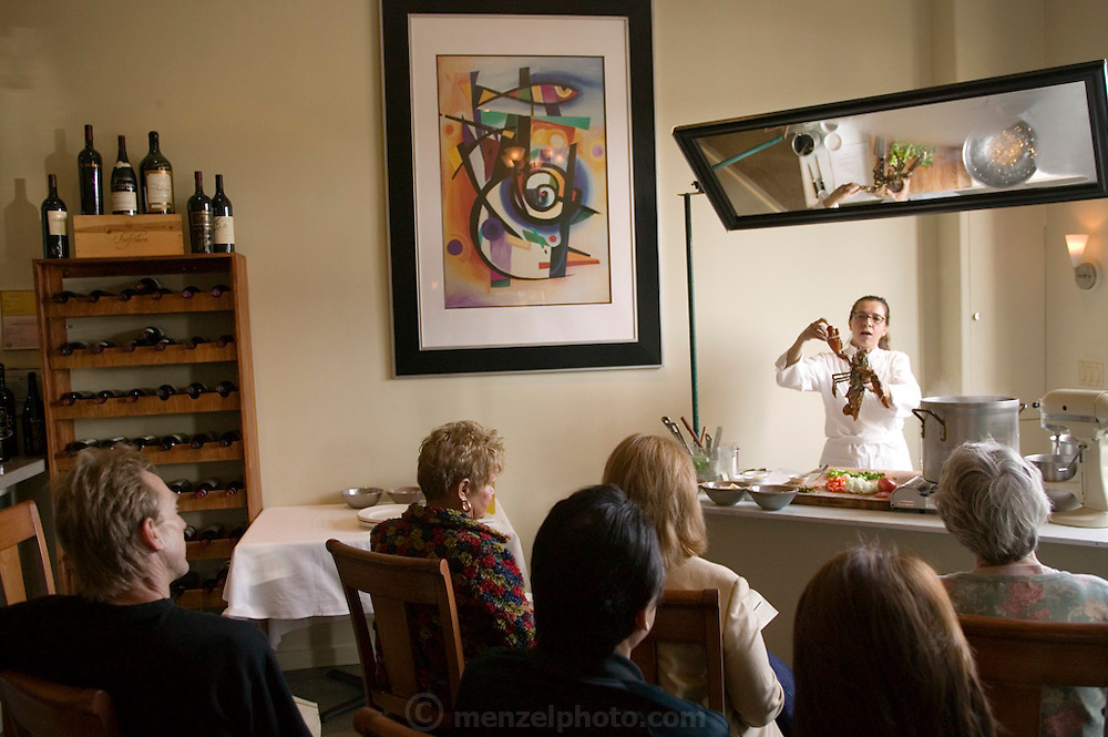 Pilar Sanchez giving a cooking demonstration (lobster soufle) at her restaurant called Pilar in downtown Napa, California. Napa Valley.
