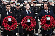 National Pictures.PH: Nick Edwards...The Prime Minister, Mr Nick Clegg (as Leader of the Liberal Democrats), Mr Ed Miliband, (as Leader of the Opposition), at the Cenotaph in London. for the The Remembrance Sunday Ceremony.14/11/10