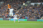 Hull City striker Chuba Akpom (19) heads towards the  goal  during the Sky Bet Championship match between Hull City and Leeds United at the KC Stadium, Kingston upon Hull, England on 23 April 2016. Photo by Ian Lyall.
