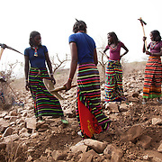 Halima,Zahara,Mairam and Mumina, young unmarried girls who work for AISDA to build stone walls on the hillside above Delafagi. The stone wall project is to prevent precious top soil to be washed away when the rain does come and AISDA employ locals to build walls running across the hill side.  Action for Integrated Sustainable Development Association (AISDA) work in the AFAR region of Eastern Ethiopia, based in Delafagi. The Afars practise an old tradition of Female Genital Mutilation where the baby girls has her clitoris and labia cut away and her vagina sewn up. The day before her wedding day the girl is un-stiched ready for marriage. Its a brutal and barbaric tradition which AISDA is challenging with great effect, now more than a hundred girls in Dowe district have been saved from the knife and AISDA is now rolling out the scheme in Delafagi. Delafagi is where the oldest ever human remains have been found, the found is thought to be 4.5 mill years old.