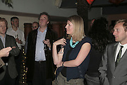Christopher Simon Sykes and Alice Sykes,  Book launch for ' What Did I Do last night' by Tom Sykes. Century Club. Shaftesbury Ave. London. 16 January 2006. -DO NOT ARCHIVE-© Copyright Photograph by Dafydd Jones. 248 Clapham Rd. London SW9 0PZ. Tel 0207 820 0771. www.dafjones.com.