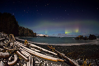Northern lights and big dipper hover above Marmot Bay in snowy, moonlit landscape, Kodiak, Alaska