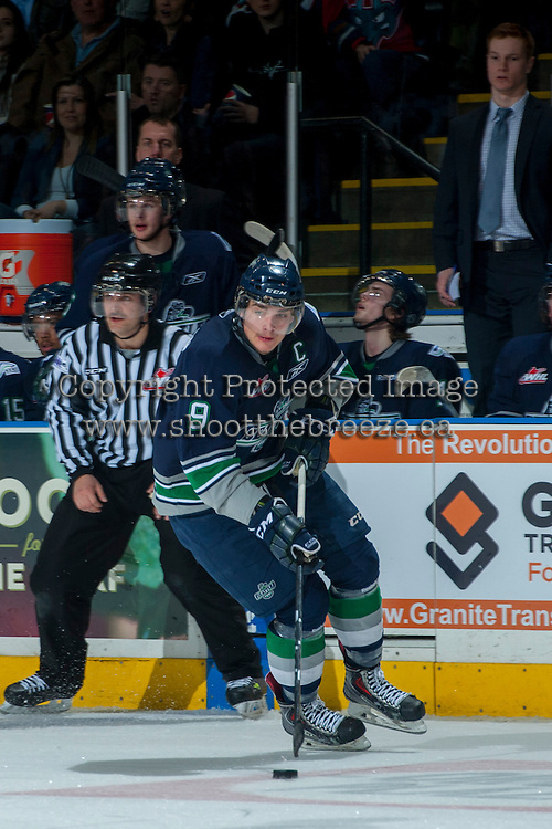 KELOWNA, CANADA - APRIL 5: Justin Hickman #9 of the Seattle Thunderbirds skates with the puck against the Kelowna Rockets on April 5, 2014 during Game 2 of the second round of WHL Playoffs at Prospera Place in Kelowna, British Columbia, Canada.   (Photo by Marissa Baecker/Getty Images)  *** Local Caption *** Justin Hickman;