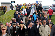 Racegoers with the Bet365 Girls flock into the Bet365 Meeting at Wetherby Racecourse, Wetherby, United Kingdom on 3 November 2018. Picture by Mick Atkins.