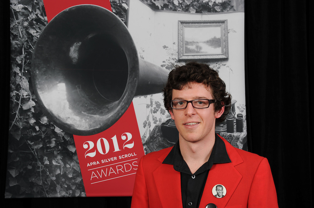 Alex Taylor, finalist at of the Sounz Contemporary Award at the APRA Silver Scrolls Awards 2012. Auckland Town Hall. 13 September 2012.