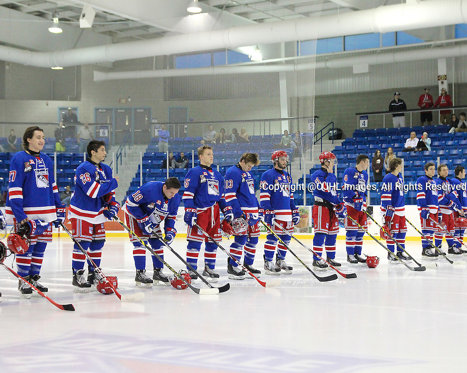 OAKVILLE, ON - Sep 5, 2014 : Ontario Junior Hockey League game action between Burlington and Oakville, <br /> (Photo by Alex D'Addese/ OJHL Images)