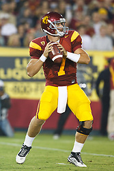 September 11, 2010; Los Angeles, CA, USA;  Southern California Trojans quarterback Matt Barkley (7) during the fourth quarter against the Virginia Cavaliers at the Los Angeles Memorial Coliseum. USC defeated Virginia 17-14.