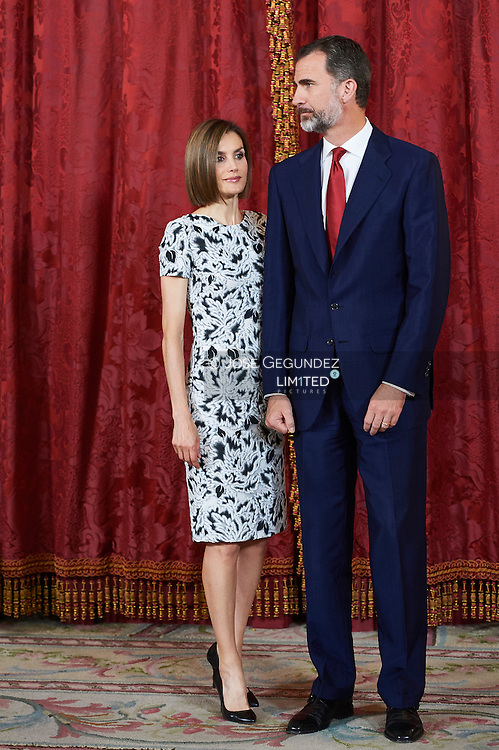 King Felipe VI of Spain and Queen Letizia of Spain attended a lunch to the President of the Republic of Paraguay, Mr. Horacio Cartes Jara at Palacio Real on June 9, 2015 in Madrid