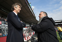 Edwin van de Sar of Ajax, coach Dick Advocaat of Sparta Rotterdam during the Dutch Eredivisie match between Sparta Rotterdam and Ajax Amsterdam at the Sparta stadium Het Kasteel on March 18, 2018 in Rotterdam, The Netherlands
