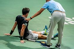 Aljaz Bedene of Slovenia injured during Singles semifinal match during Day 9 of ATP Challenger Zavarovalnica Sava Slovenia Open 2019, on August 17, 2019 in Sports centre, Portoroz/Portorose, Slovenia. Photo by Vid Ponikvar / Sportida