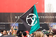 An anarchist flag at Anti Olympic protest during the opening day of the 2010 Vancouver Olympic games.  February 12th, 2010....