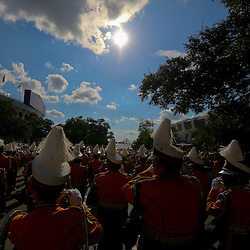 Sep 5, 2015; Baton Rouge, LA, USA; The LSU Tigers marching band walks down Victory Hill  before a game against the McNeese State Cowboys at Tiger Stadium. Mandatory Credit: Derick E. Hingle-USA TODAY Sports
