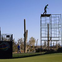 NBC Sports and Golf Channel crews begin the process of producing the WGC Accenture Match Play golf tournament.