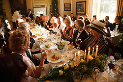 Family and Guests eat dinner at a Civil Ceremony