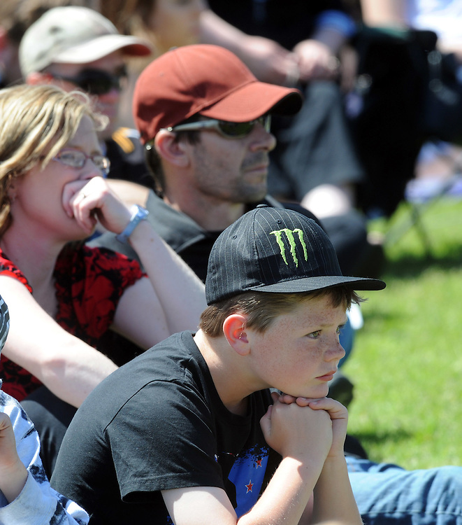 Young and old gathered at Rugby Park for a public memorial service for the 29 victims of the Pike River Coal Mine tragedy, Greymouth, New Zeland, Saturday, November 19, 2011. Credit:SNPA / Ross Setford