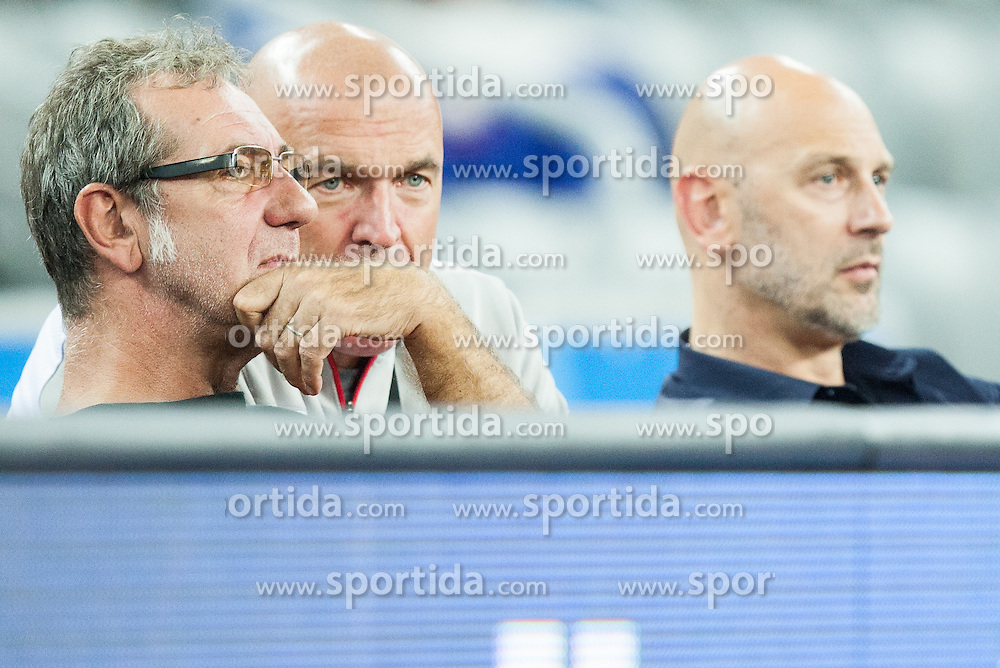 Zoran Cutura, Aramis Naglic and Emilio Kovacic during basketball match between Slovenia vs Netherlands at Day 4 in Group C of FIBA Europe Eurobasket 2015, on September 8, 2015, in Arena Zagreb, Croatia. Photo by Vid Ponikvar / Sportida