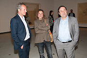 CARL FREEDMAN; SARA LUCAS; GREGOR MUIR,  Opening of Love is what you want. Exhibition of work by Tracey Emin. Hayward Gallery. Southbank Centre. London. 16 May 2011. <br /> <br />  , -DO NOT ARCHIVE-© Copyright Photograph by Dafydd Jones. 248 Clapham Rd. London SW9 0PZ. Tel 0207 820 0771. www.dafjones.com.