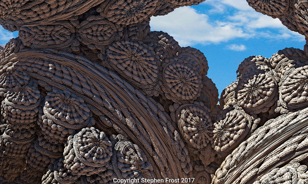 A digital representation, using fractals, of a hidden fossilised cave, or strange architecture.