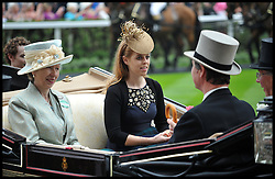 Princess Anne and Princess Beatrice  arrive in the parade ring at Royal Ascot 2013 Ascot, United Kingdom,<br /> Thursday, 20th June 2013<br /> Picture by Andrew Parsons / i-Images