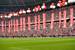 23.05.2015, Allianz Arena, Muenchen, GER, 1. FBL, FC Bayern Muenchen vs 1. FSV Mainz 05, 34. Runde, im Bild Fahnen Flaggen Gegentribuene fuer Leenden des FCB // during the German Bundesliga 34th round match between FC Bayern Munich and 1. FSV Mainz 05 at the Allianz Arena in Muenchen, Germany on 2015/05/23. EXPA Pictures &copy; 2015, PhotoCredit: EXPA/ Eibner-Pressefoto/ Weber<br /> <br /> *****ATTENTION - OUT of GER*****