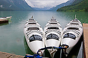Kayaks on the shore of Chilkoot Lake.  Outside Haines, AK at Chilkoot State Park.  Haines, Alaska.  USA.