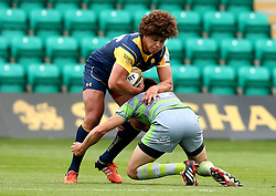 Buster Lawrence of Worcester Warriors is tackled - Mandatory by-line: Robbie Stephenson/JMP - 29/07/2017 - RUGBY - Franklin's Gardens - Northampton, England - Worcester Warriors v Newcastle Falcons - Singha Premiership Rugby 7s