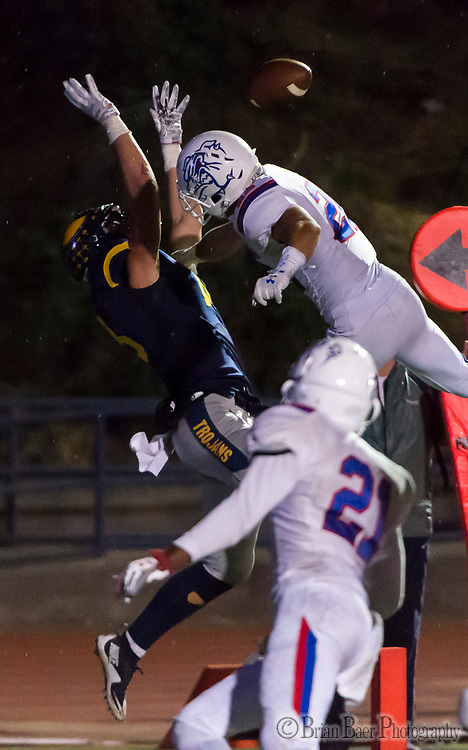Folsom Bulldogs Tanner Ward (22), defends a pass intended for Oak Ridge Trojans Austin Jarrard (18), during the fourth quarter as the Oak Ridge Trojans football team host the Folsom Bulldogs, Friday Nov 3, 2017.<br /> photo by Brian Baer