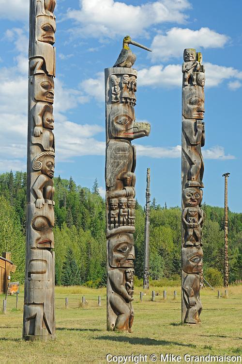 Kitwanga Totem Poles. Gitwangak or Gitwangax. Gitanyow. Gitksan people. Northwest Coast First Nations. Nass Range of mountains , Kitwanga, British Columbia, Canada