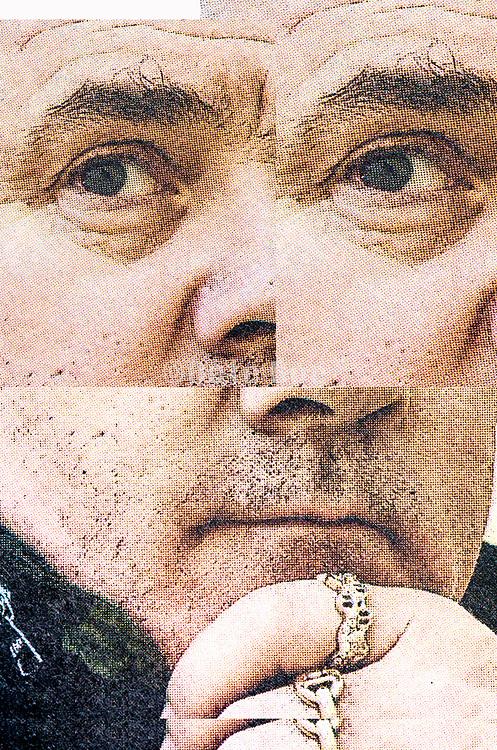 collaged portrait of English artist Damien Hirst