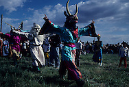 Mongolia. Buddhist Tsam dance with masks in dalanzadgad (Gobi desert)