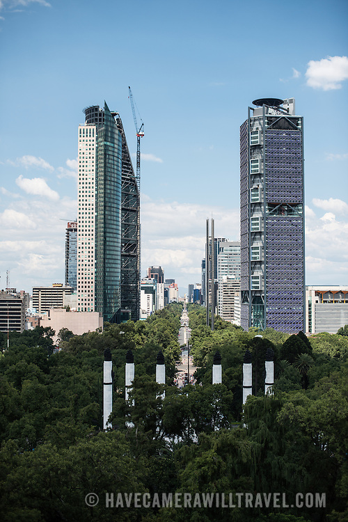 The view down Paseo de la Reforma, with new skyscrapers, from an outdoor patio area at Chapultepec Castle. Since construction first started around 1785, Chapultepec Castle has been a Military Academy, Imperial residence, Presidential home, observatory, and is now Mexico's National History Museum (Museo Nacional de Historia). It sits on top of Chapultepec Hill in the heart of Mexico City.