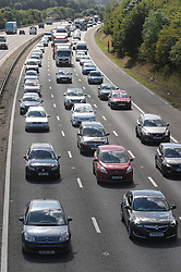 &copy; Licensed to London News Pictures. 28/08/2015<br /> M25 traffic at Junction 3 for Swanley.<br /> August Bank holiday traffic hell on the M25  THIS AFTERNOON (28.08.2015) The M25 anti-clock wise towards the Dartford Crossing in Kent looks more like a car park as the busy bank holiday getaway continues. Traffic is back to Junction 4 for Orpington.<br /> (Byline:Grant Falvey/LNP)