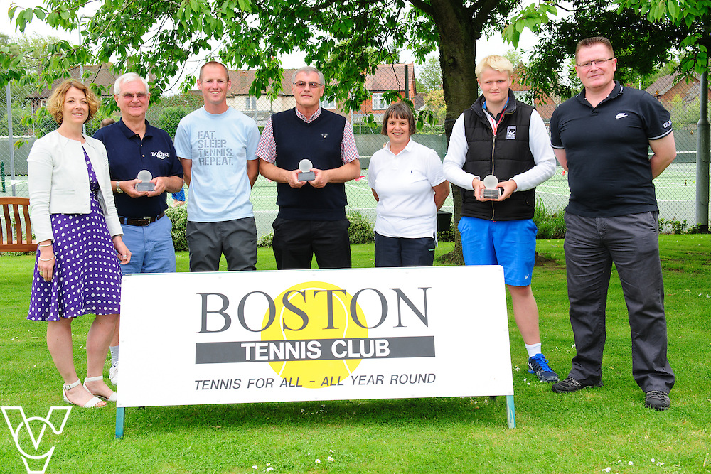 Boston Tennis Club has been awarded three AEGON British Tennis regional awards, including regional club of the year.<br /> <br /> Pictured, from left, Claire Brown (LTA Head of Region - Midlands), Frank Cammack (outstanding achievement), Richard Cook, Chris Cook, Mary Smura, David Cheer (young volunteer award) and Mark Thompson (LTA Councillor for Lincolnshire).<br /> <br /> Picture: Chris Vaughan Photography/LTA<br /> Date: June 12, 2016