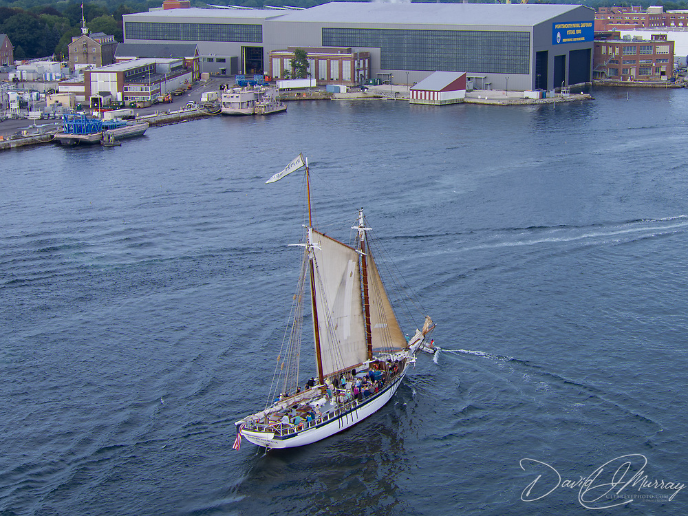 The Harvey Gamage on the Piscataqua River near the Portsmouth Naval Shipyard during the Parade of Sail, August 10, 2016.