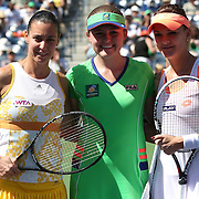 March 16, 2014 Indian Wells, California. Ceremonies, walk-on, national anthem leading up to the start of the women's final between Agnieszka Radwanska and Flavia Pennetta and the 2014 BNP Paribas Open. (Photo by Billie Weiss/BNP Paribas Open)