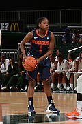 February 20, 2014: Alexis Peterson #1 of Syracuse in action during the NCAA basketball game between the Miami Hurricanes and the Syracuse Orange at the Bank United Center in Coral Gables, FL. The Orange defeated the Hurricanes 69-48.