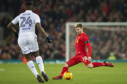 Halbfinale im Liga-Pokal Liverpool vs Leeds 1:0 in Liverpool / 291116<br /> <br /> ***LIVERPOOL, ENGLAND 29TH NOVEMBER 2016:<br /> Liverpool defender Alberto Moreno right keeps the ball from Leeds United forward Hadi Sacko during the English League Cup soccer match between Liverpool and Leeds at Anfield Stadium in Liverpool England November 29th 2016***