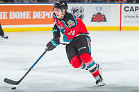 KELOWNA, CANADA - OCTOBER 27: Kyle Topping #24 of the Kelowna Rockets skates with the pick against the Tri-City Americans on October 27, 2017 at Prospera Place in Kelowna, British Columbia, Canada.  (Photo by Marissa Baecker/Shoot the Breeze)  *** Local Caption ***