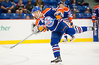 KELOWNA, CANADA - OCTOBER 2: Iiro Pakarinen #26 of the Edmonton Oilers takes a warm up shot against Los Angeles Kings on October 2, 2016 at Kal Tire Place in Vernon, British Columbia, Canada.  (Photo by Marissa Baecker/Shoot the Breeze)  *** Local Caption *** Iiro Pakarinen;