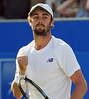 Tennis - 2017 Aegon Championships [Queen's Club Championship] - Day Two, Monday<br /> <br /> Men's Singles, Round of 32<br /> Andy Murray [GBR] vs. Jordan Thompson [Aus]<br /> <br /> Jordan Thompson celebrates winning the first set on Centre Court <br /> <br /> COLORSPORT/ANDREW COWIE