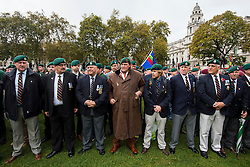 © Licensed to London News Pictures. 28/10/2015. London, UK. Former and serving members of the armed forces take part in a rally in support of support of Sgt Alexander Blackman, who was given a life sentence after being convicted of murdering a wounded Taliban fighter. Senior military officials have warned of possible disciplinary action against troops caught attending the event. Photo credit: Ben Cawthra/LNP