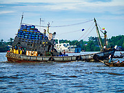 23 NOVEMBER 2017 - YANGON, MYANMAR:  A fishing trawler returns to port with its catch at the San Pya Fish Market. San Pya Fish Market is one of the largest fish markets in Yangon. It's a 24 hour market, but busiest early in the morning. Most of the fish in the market is wild caught but aquaculture is expanding in Myanmar and more farmed fresh water fish is being sold now than in the past.   PHOTO BY JACK KURTZ